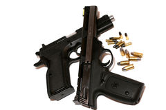 Handguns. 22 and 9 mm handgun with ammunition Royalty Free Stock Images