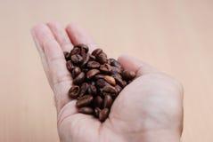 Handhåll kaffebönan Arkivfoto