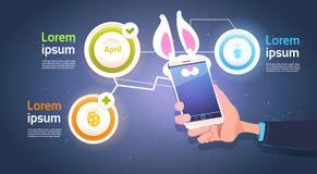 HandhållSmart telefon med Bunny Ears Over Template Infographic beståndsdelar för lycklig påskferiebakgrund royaltyfri illustrationer
