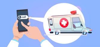 HandhållSmart telefon som kallar i räddningstjänst med ambulansbilen i pratstundbubbla stock illustrationer