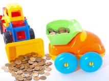 Handhaben der Münzen im LKW stockfotografie