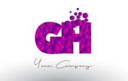 Handhabung am Boden G H Dots Letter Logo mit purpurroter Blasen-Beschaffenheit lizenzfreie abbildung