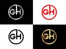 Handhabung- am Bodenquadratform Buchstabe-Logo Entwurf in der silbernen Goldfarbe stock abbildung