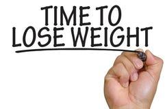 Handhandstiltid att förlora vikt över vanlig vit bakgrund Arkivbild