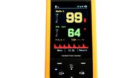 Handheld оксиметр ИМПа ульс, медицинская служба изолированная на белой предпосылке Стоковые Изображения RF