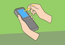 Handheld computer with hands. A generic handheld PDA mobile device with hands and pointer on separate green background. Vectored illustration Stock Image