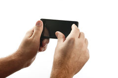 Handheld device interaction Royalty Free Stock Photo