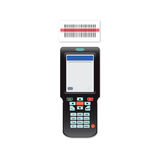 Handheld Mobile Computer in hand or scanner barcode. stock illustration