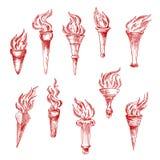 Handheld och för vägg röda flamma facklor skissar symboler Arkivbild