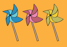 Handheld Paper windmill on Sticks or Pinwheel Origami Vector Ill Royalty Free Stock Image
