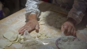 Handheld shot of Chinese cooks cooking famous Chinese dumplings with various fillings. Travel to China concept. Chinese stock video