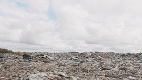Ð¡ity garbage dump, environmental pollution due to lack of recycling technology stock video