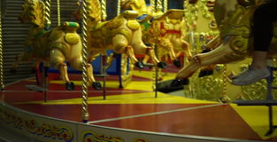 Handheld shot of Merry go Round stock video footage