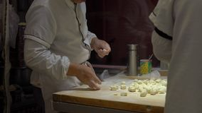 Handheld strzał chińczyk gotuje kulinarne sławne Chińskie kluchy z różnorodnymi plombowaniami Podróż Porcelanowy pojęcie chińczyk zbiory wideo