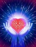 Handherz-Lichtstrahl-Zauberkraft-Liebes-Hintergrund-Blau Lizenzfreie Stockfotos