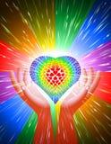 Handherz-Lichtstrahl-Zauberkraft-Liebes-Hintergrund-Regenbogen LGBT Lizenzfreie Stockfotos