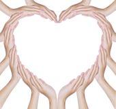 handhjärta gör form Arkivfoton