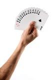 Handholding aufgelockerte Karten, die Verein-Klage zeigen Stockbild