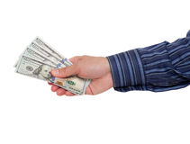 Handholding Bargeld Stockfoto