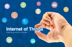 Handholding Internet van dingen (IoT) woord en objecten pictogram en B Stock Foto