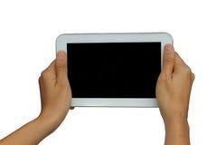 Handholding lokalisierte Tablette mit schwarzem Schirm Lizenzfreie Stockfotos