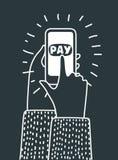 Handholding mobiel met loonswoord Stock Afbeelding