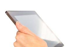 Handholding-Tablette-Computer getrennt auf Weiß Stockfotografie
