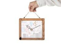 Handholding whiteboard van de klok van het dollarteken op wit wordt geïsoleerd dat Stock Fotografie