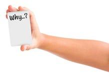 Handholdingkarte mit dem Wort warum. Lizenzfreies Stockfoto