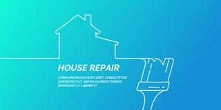 Handhulpmiddelen voor huisvernieuwing en bouw De lineaire affiche van de Huisreparatie vector illustratie