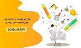 Handhulpmiddelen voor huisvernieuwing en bouw Kar met bouwmaterialen Landend Paginamalplaatje vector illustratie