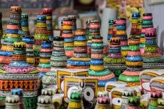 Handi de ambachten in India worden, het is een kunst op potten wordt geschilderd gemaakt die Stock Afbeeldingen