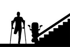 Handicapé de silhouette sans jambe avec des béquilles et un ascenseur pour des handicapés illustration de vecteur