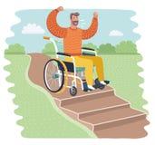 Handicapé sur les difficultés d'escaliers à employer illustration libre de droits
