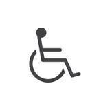 Handicap значок символа, иллюстрация логотипа кресло-коляскы твердая, Стоковые Изображения RF