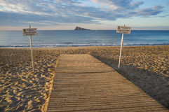 Handicap access to a beach. Handicap access to the beach in Benidorm, Costa Blanca, Spain Stock Image