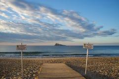 Handicap access to a beach. Handicap access to the beach in Benidorm, Costa Blanca, Spain Stock Photography