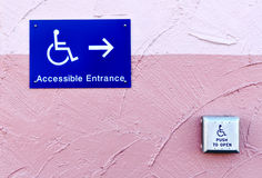 Handicap entrance sign and button. With handicap sign Royalty Free Stock Image