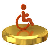 Handicap on gold podium Stock Image