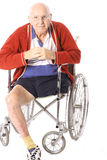Handicap grandfather with leg  Royalty Free Stock Images