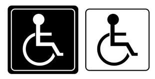Handicap of het symbool van de rolstoelpersoon Stock Afbeeldingen