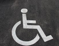 Handicap icon. Parking lot with handicap sign and symbol. Empty handicapped reserved parking space with wheelchair symbol. Disable Stock Images