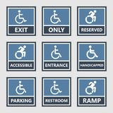 Handicap icons, parking and toilet signs, disabled people. Handicap signs, wc and parking icons, disabled people Stock Image