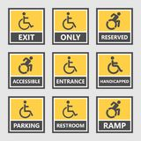 Handicap labels and signs, disabled people icons and stickers. Handicap icons, parking and wc signs, disabled people Stock Photos