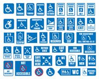 Handicap signs, wc and parking icons, disabled people. Handicap labels and signs, disabled people icons and stickers Royalty Free Stock Photography