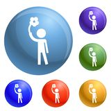 Handicap man icons set vector royalty free illustration