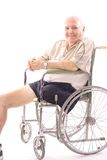 Handicap man in wheelchair. With one leg isolated on white background Royalty Free Stock Photos