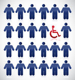 Handicap in the middle of a set of people Stock Images