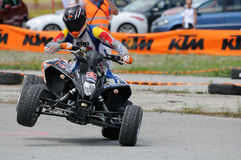 Handicap Motorsports. TAXENBACH, AUSTRIA - JUN 5: Supermoto trophy race. Famous disabled sports athlete Reini Sampel at the exhibition race on June 5, 2011 in Stock Photo
