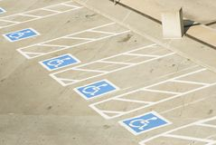 Handicap parking 1. Handicap parking spaces in a parking lot Royalty Free Stock Image